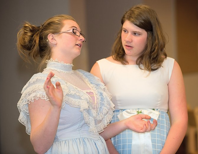 "Chelsea Marie, playing Miss Roberts, and Sandy Nunnikhoven, playing Stella, practice a scene from the play ""The Fifteenth Candle,"" which will be featured in Rock the Arts."