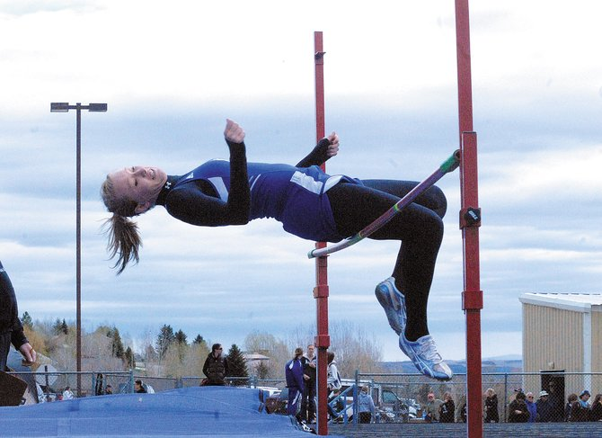 Britteny Ivers, a Moffat County High School junior, clears the high jump Monday during the Clint Wells Invitational at MCHS. Ivers placed third overall in the event.