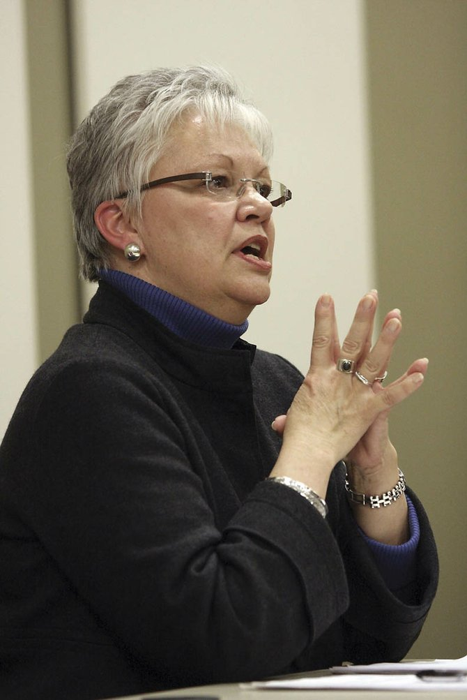 """Ronna Autrey, of Reaching Everyone Preventing Suicide, shares her """"survivor story,"""" which she said compels her to work and spread awareness about suicide and depression during a February suicide prevention forum at The Memorial Hospital in Craig."""