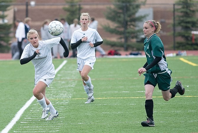 Steamboat Springs' Joanie Bier, who had three goals in Tuesday's game against Delta, races for a loose ball in the first half. The Sailors won the game, 6-3, and will be hoping for another victory today when the team plays a key league contest in Glenwood.