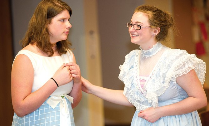 "Chelsea Marie, playing Miss Roberts, right, and Sandy Nunnikhoven, playing Stella, practice a scene from the play ""The Fifteenth Candle,"" which will be featured in the Rock the Arts festival. The festival is from 6 to 9 p.m. today and Saturday at the Steamboat Springs High School."