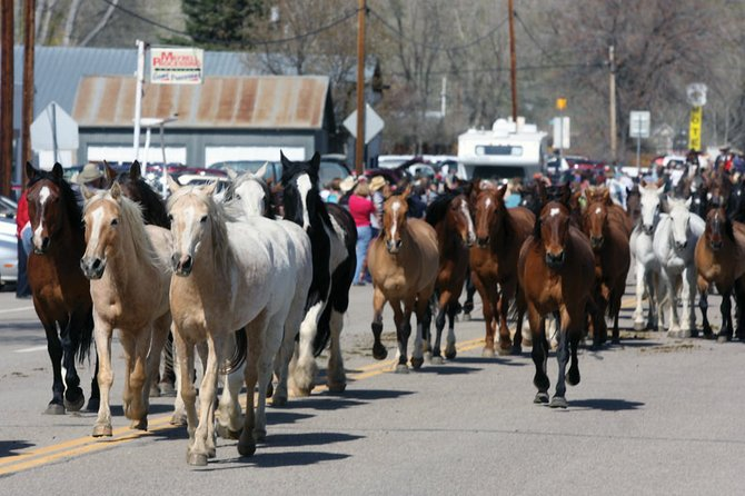 Horses come through town during the Sombrero Ranches Horse Drive on Sunday along U.S. Highway 40 in Maybell.