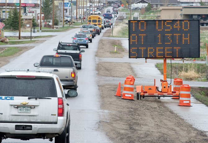 Traffic backs up on 13th Street between the James Brown Soul Center of the Universe Bridge and Lincoln Avenue on Monday morning. Construction officials said they will implement left-turn lanes for eastbound Lincoln Avenue traffic at 12th and Third streets to help with traffic flow.