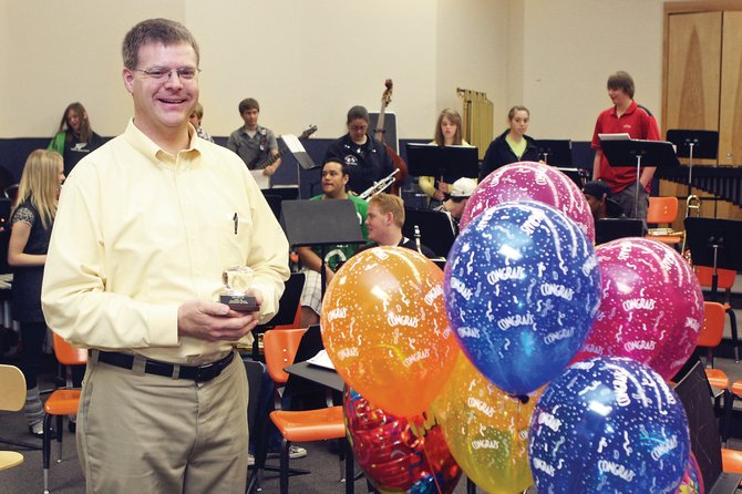 John Bolton, Moffat County High School band director, was named the 2009-10 Craig Daily Press Teacher of the Year on Tuesday at the high school. Bolton was nominated for the impact he has made on students' lives, the passion he instills in his students, and the improvements he has made to the MCHS band program during his six-year tenure.