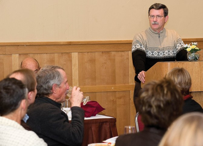 Karl Gills, of Yampa Valley Medical Center, talks as part of a panel at a forum hosted by The Steamboat Springs Eco­nomic Development Council at The Steamboat Grand. The forum was intended to help local employers unravel potential impacts of the federal health care overhaul that was made law this year.