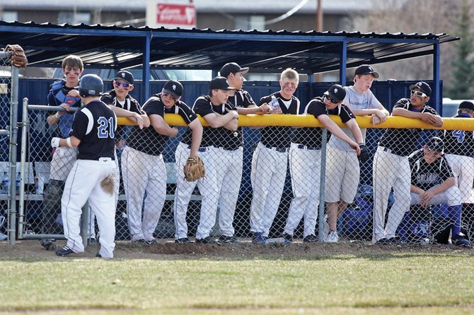 The Moffat County High School varsity baseball team stands in the dugout during an April 16 game against Palisade. The Bulldogs discovered on Wednesday that they did not qualify for this year's playoffs.