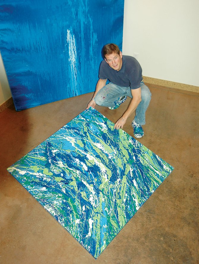 Artist Will Day creates his abstract acrylic paintings with nontraditional brushes on canvasses he sets on the floor. He'll be the featured artist during a reception from 6 to 8 p.m. Friday at K. Saari Gallery.