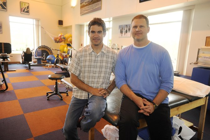 SportsMed physical therapists Scott Blair, left, and Lance Pugh are working with physicians, athletic trainers, coaches, schools, teachers and families across Routt County to help understand the management of concussions.