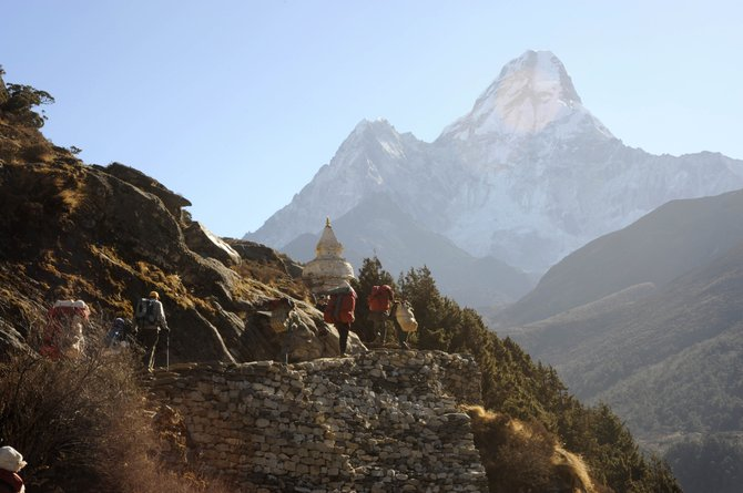 The peak Ama Dablam is pictured in the background as hikers prepare to get to the Mount Everest Base Camp. Steamboat Springs resident Lee Cox will be presenting a slideshow at 7 p.m. Thursday at the Bud Werner Memorial Library about her trip to the Everest Base Camp. The show is free, but donations for Partners in Routt County will be accepted.