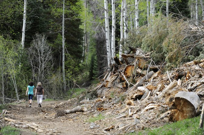 Steamboat Springs resident Dianne Stoyko, right, and Nicole Melcher, of Spokane, Wash., walk along the Spring Creek trail Thursday afternoon where recent logging has left parts of the trail littered with debris. Work still is under way to clean up areas where dead lodgepole pine trees were removed.