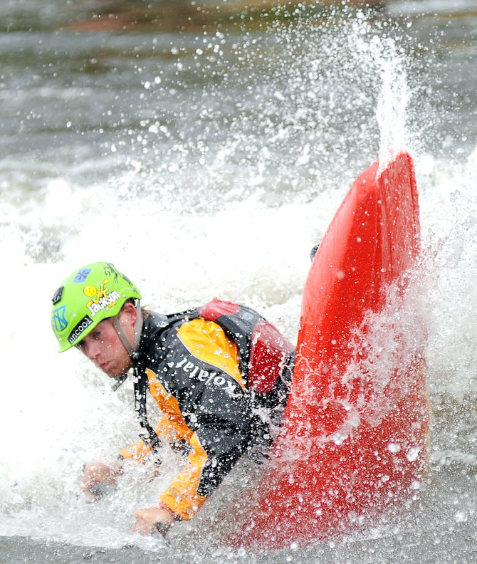 Nick Troutman gets tricky while paddling during the Paddling Life Pro Invitational on Monday in Steamboat Springs. Troutman won this year's title, the third year in a row he's won at least a share of the title.