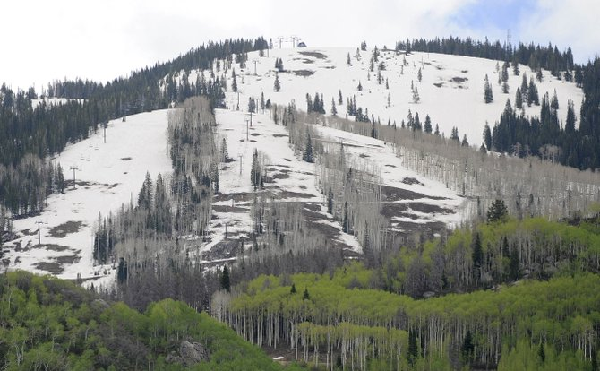 The bald spot on Storm Peak at Steamboat Ski Area has been growing in recent days as the snowpack melts. Runoff likely peaked May 30.