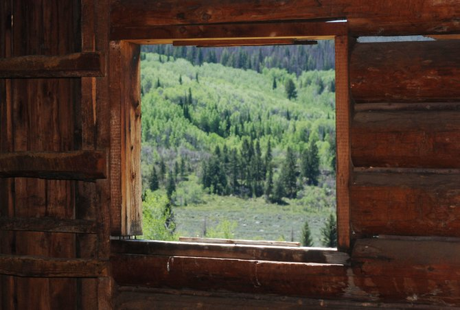 The historic Mad Creek Barn frames a view of new aspen leaves.