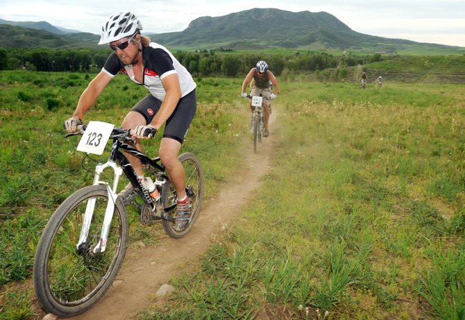 Matt Eggen rides Wednesday in the Town Challenge Mountain Bike Series race at Marabou Ranch near Steamboat Springs. The race, the first of the season, attracted more than 200 riders.