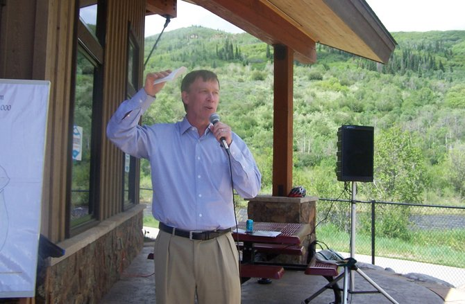 Democratic gubernatorial candidate John HIckenlooper spoke to an audience of about 60 people Saturday at the Yampa River Botanic Park in Steamboat Springs.