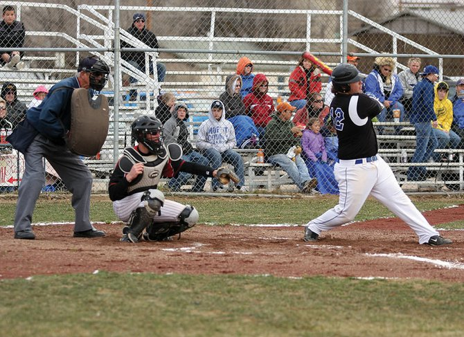 Halen Raymond, at bat, takes a cut during an April 3 Moffat County High School varsity baseball game versus Steamboat Springs High School. Raymond, a 2010 MCHS graduate, recently competed in the Western Slope League's all-conference game in Rifle.