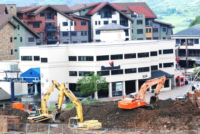 Base area redevelopment coordinator Joe Kracum said crews at the base of Steamboat Ski Area are replacing and upsizing sewer and water lines, along with other infrastructure work, from Gondola Square to Torian Plum Plaza.