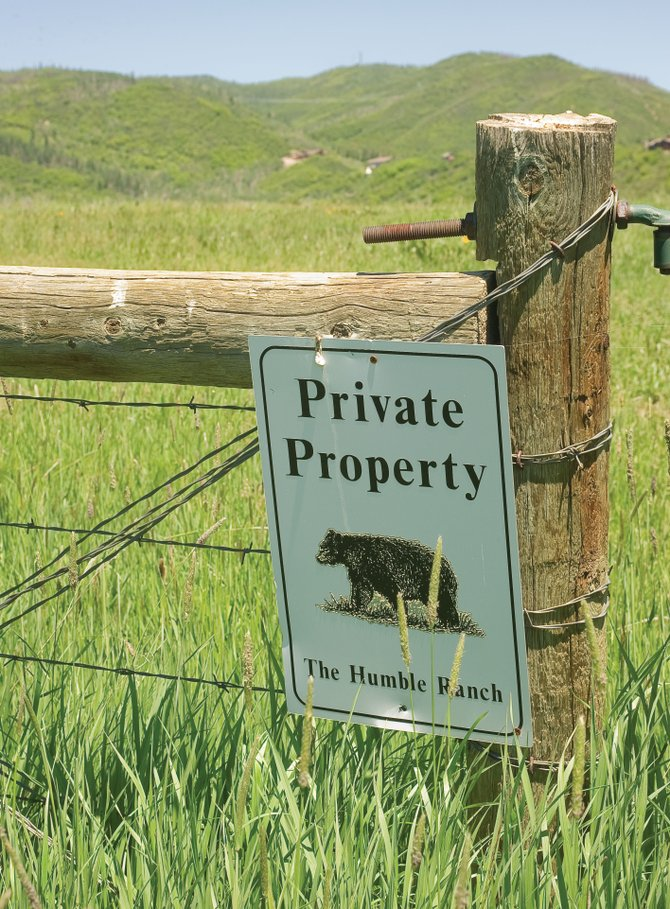 A private property sign is posted on a gate on property between the Humble Ranch and the backside of Emerald Mountain. The city of Steamboat Springs is taking its case with Humble Ranch to the state Supreme Court.