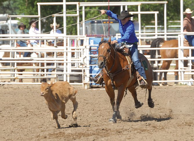 Lamar's Shay Spitz tries to rope a calf during Saturday's Colorado State High School Rodeo finals. The rodeo finished Sunday, with Spitz being named as the girls rookie of the year.