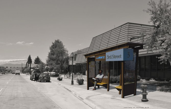 The city plans to install nine new bus shelters, shown here in a rendering of the design by Vertical Arts, along Lincoln Avenue in downtown Steamboat Springs in the fall. The Third Street sign is conceptual and not approved by the city.