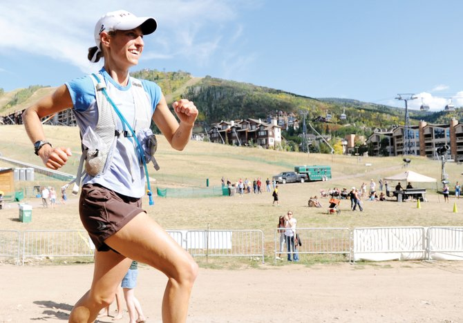 Jenna Gruben Morrill finishes the Steamboat 50 ultra marathon in September. She was killed in a car wreck Feb. 13 on U.S. Highway 40.