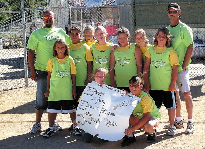 The Mountain States Electrical 9- to 11-year-old girls softball team won Thursday's Craig Parks and Recreation softball tournament by defeating Airtek, 13-5, in the championship game. The team is, back row from left, head coach Dustin McCollom, Vivian Lerma, Jaci McDiffett, Allie Dilldine Alicia Alonso, Makyala Thompson, Hailee Herndon and assistant coach Troy Hampton. In the front row, from left, are Kayla Hampton, Terry Gillett and Kelsie McCollom. Amanda Moore, Rylee Laman, Jordan Goodwin and Travis Goodwin are not pictured.