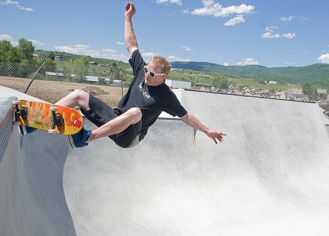 Skateboarder Martin Beckett grinds the coping in the new bowl at the Bear River Skatepark. The city and the Steamboat Skatepark Alliance will host the official grand opening of the park from 10 a.m. to 3 p.m. Saturday.