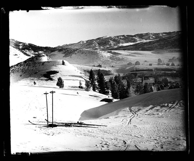 Pioneer Steamboat Springs photographer Judge A.M. Gooding captured this image of his ski equipment on Mile Run at Howelsen Hill in the 1920s.