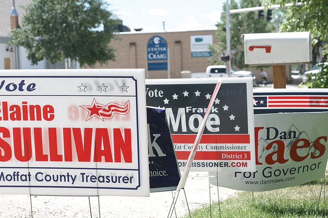 A variety of local and state campaign signs are shown Monday in the yard of a Craig resident in the 600 Block of Yampa Avenue. City attorney Kenny Wohl is recommending the city council not create an ordinance to regulate the signs based on concerns of violating residents' First Amendment rights.