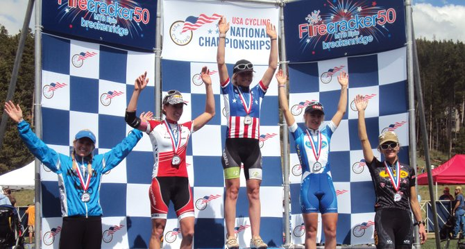 Steamboat Springs resident Kelly Boniface, far left, celebrates on the podium Sunday after the Firecracker 50 mountain bike race in Breckenridge. Boniface placed fifth in the women's pro field and was one of seven Steamboat finishers.