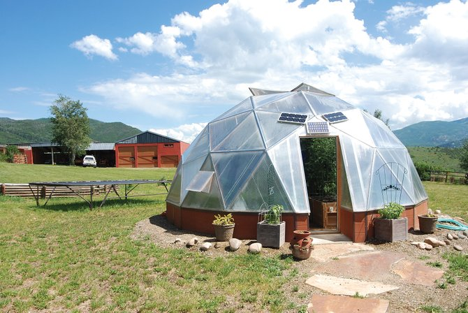 Linda Cantway's domed greenhouse is featured on the Strings Kitchen and Garden Tour on Saturday.