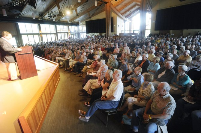 The Strings Music Pavilion was packed Thursday night as people listened to The New York Times chief Washington correspondent David Sanger speak to kick off the Seminars at Steamboat lecture series.
