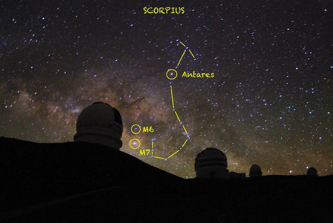The constellation Scorpius, the Scorpion, is shown here from observatories atop Mauna Kea in Hawaii. Scorpius and its bright-red heart, Antares, is visible to the south in summer skies.