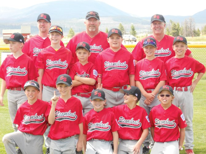 The Steamboat Springs minor league all-star team is, front row, from left, Payton McElhiney, Kale Reistad, Cannon Reece, Everett Simonsen and Davis Petersen. Middle row, from left, is Haven Larson, Zach Cooke, David LaPointe, David Brown, Theo Hansen and Sean Patten. The back row, from left, is Chauncey Cooke, Greg Kmetz-LaPointe and Jim Hansen.