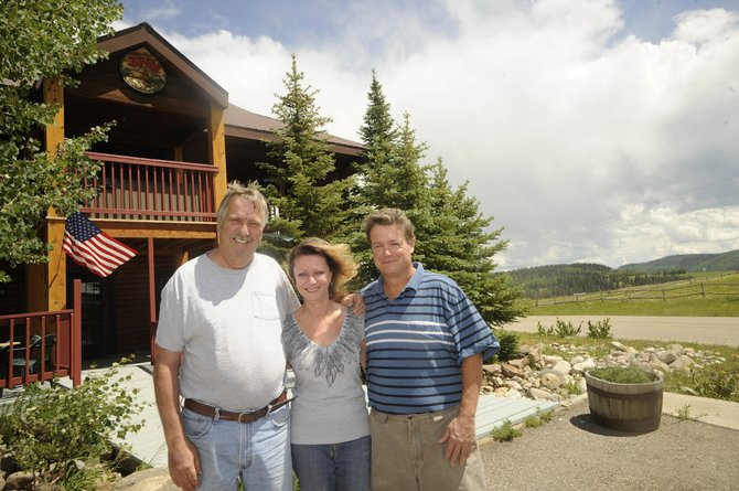Hahn's Peak Inn reopened earlier this month in North Routt County. It is being run by, from left, Jeff Dolan, Betty Happel and Mike Gillotti.
