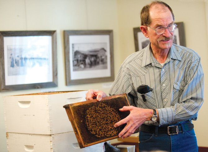Bill Fetcher talks about beekeeping in Routt County on Friday afternoon at the Tread of Pioneers Museum during the Brown Bag Lunch Lectures series.