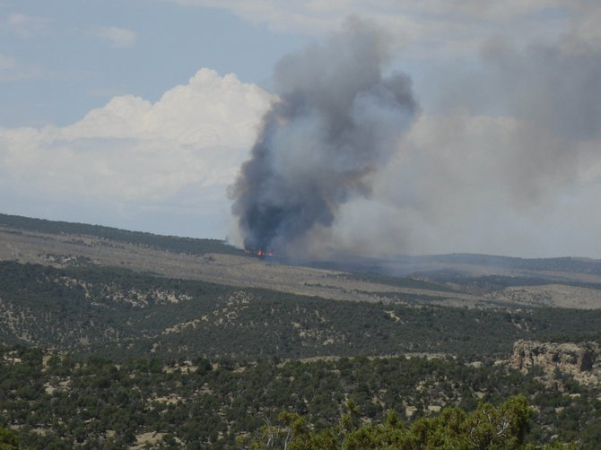 A wildfire caused by a lightning strike burns through pinyon and juniper trees Monday south of Elk Springs in Moffat County. Fire engines, a hand crew and a helicopter are fighting the 200-acre fire.