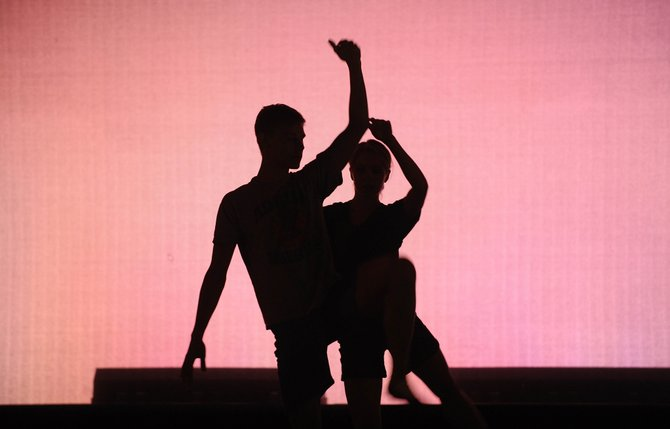 "Lieneke Matte and Jacob Paulson rehearse a dance duet Tuesday at Perry-Mansfield Performing Arts School and Camp. They were preparing for ""An Evening of Dance,"" which is at 8 p.m. Thursday, Friday and Saturday."