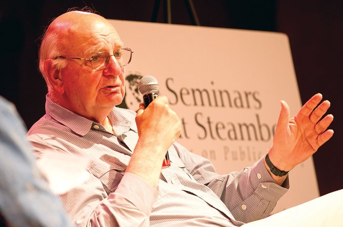 Economist Paul Volcker speaks at the Strings Music Pavilion on Thursday night. Volcker, who was chairman of the Federal Reserve under Presidents Jimmy Carter and Ronald Reagan, was in town as part of Seminars at Steamboat.