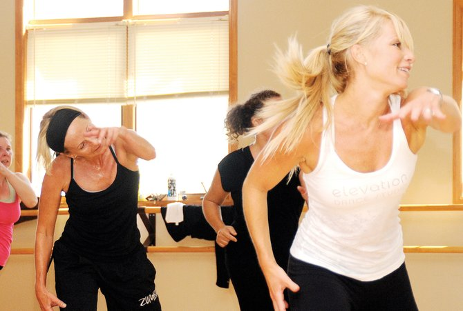 Renee Fleischer, right, leads a dance class at her Steamboat studio Saturday.