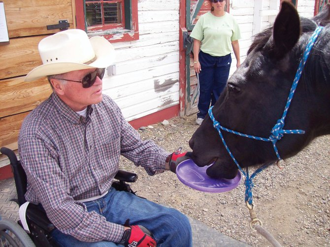 Steve Frasier is among adult clients who have taken part in therapeutic riding activities at the Humble Ranch Education and Therapy Center. Riding at the ranch, in combination with other types of therapy, helped him to walk again after a spinal cord injury and surgery.