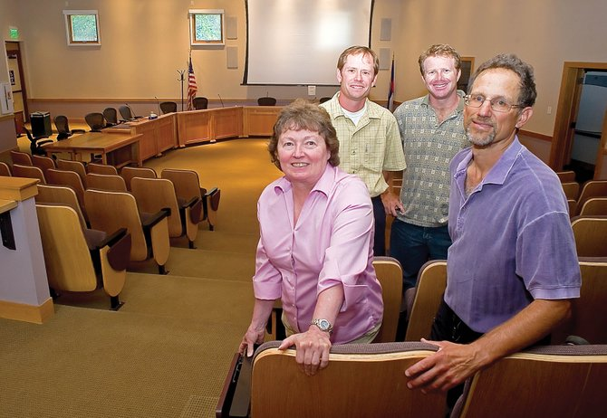 The four finalists for the vacant Steamboat Springs City Council seat gathered in Centennial Hall on Monday. They are, clockwise from lower left, Kathi Meyer, Bart Kounovsky, Cedar Beauregard and Rich Levy. Council members will appoint one of the finalists tonight. That person will help take on several upcoming, challenging tasks including the city's 2011 budget, proposed water and wastewater rate increases and the refinancing of millions of dollars for redevelopment work at the base of Steamboat Ski Area.