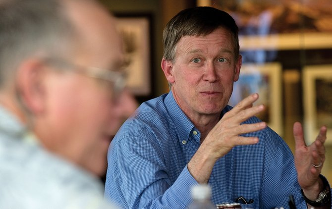 John Hickenlooper, a Democrat who is running for governor of Colorado, was in Steamboat Springs on Tuesday afternoon to speak to a group of small-business owners at Storm Peak Innovations.