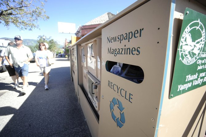 Bins for recyclable materials are sparse in downtown Steamboat Springs, so several groups are working together on a trial run of 12 to 14 recycling bins next to trash cans between Sixth and Ninth streets on Lincoln Avenue.