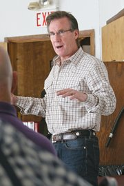 Republican gubernatorial candidate Scott McInnis talks with residents about job creation, the economy and natural resources, among other topics, during a meet-and-greet Saturday at the Golden Cavvy Restaurant & Lounge in Craig. McInnis is facing Evergreen resident and businessman Dan Maes in Tuesday's primary election.