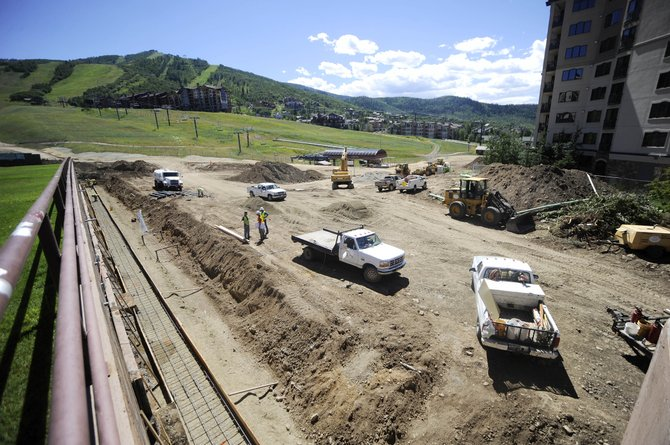 Work continues Wednesday at the base of Steamboat Ski Area.