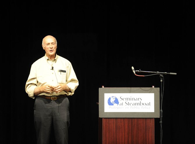 "Joseph Nye speaks Thursday evening at Strings Music Pavilion as the final speaker in the Seminars at Steamboat series. Nye spoke about ""Smart Power: America's Global Position."""