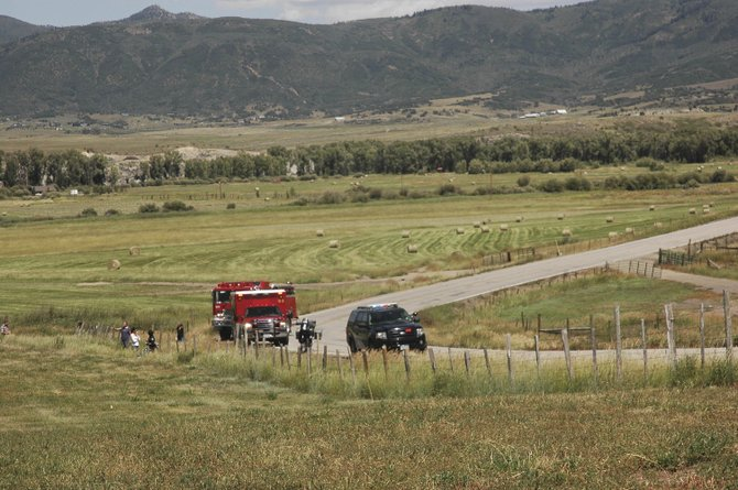 A Steamboat Springs man was injured Sunday afternoon after crashing his motorcycle and going off the side of the road around this tight turn on Routt County Road 33. Emergency responders took George Hine, 43, to Yampa Valley Medical Center.
