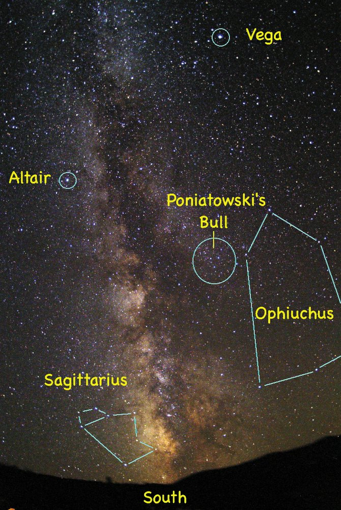 The now defunct constellation of Poniatowski's Bull still can be spotted high in the southern sky at about 10 p.m., not far from the bright stars Altair and Vega and on the western edge of the Milky Way's Great Rift.