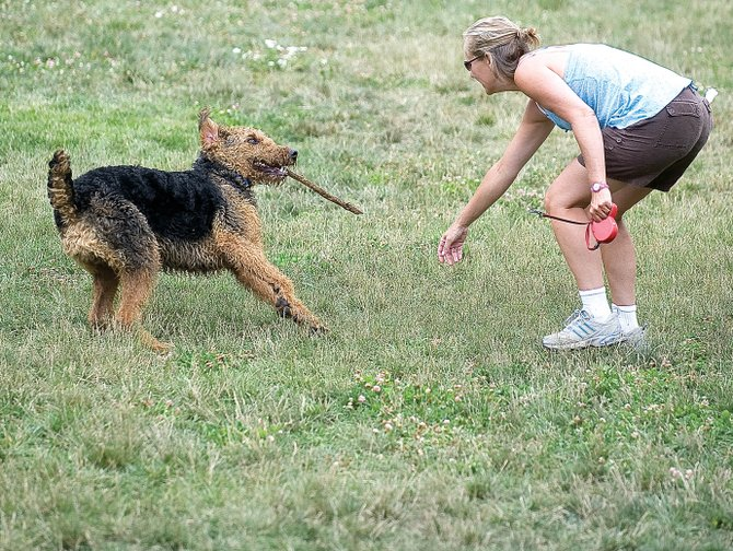 Carole Buelter plays with Cecil at Spring Creek Park on Monday morning.